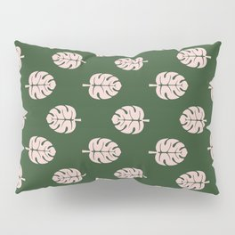 Tropical leaves Monstera deliciosa emerald and pink #monstera #tropical #leaves #floral #homedecor Pillow Sham