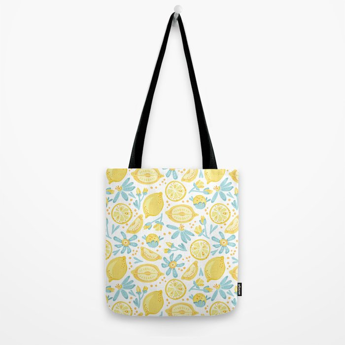 Lemon pattern White Tote Bag