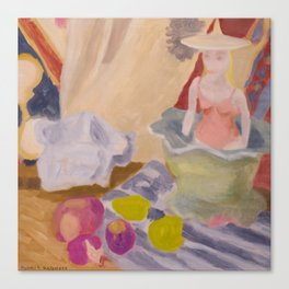 Ceramic figure with turnips and lemons Canvas Print