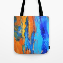 Oranges and Blues Abstract Tote Bag