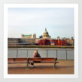 Sunset at South Bank with St Paul's  Art Print