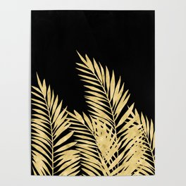 Palm Leaves Golden On Black Poster
