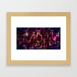 Glowing night purple triangles. Framed Art Print