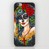 day of the dead iPhone & iPod Skins featuring Day of the Dead by Little Lost Forest