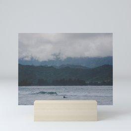 Lone Surfer - Hanalei Bay - Kauai, Hawaii Mini Art Print