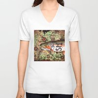trout V-neck T-shirts featuring Trout Collage by MoosePaw