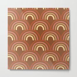 Retro Rainbows in Rust Metal Print