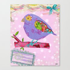 Pink And Purple Passion Bird Canvas Print