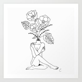 Female Form in Bloom Floral Design Art Print