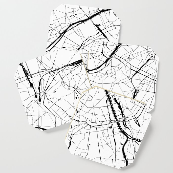 Paris Map Black And White.Paris France Minimal Street Map Black And White Coaster By