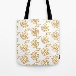 Golden floral on white 2/5 Tote Bag