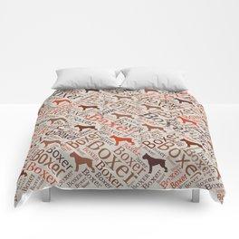 Boxer dog Word Art Comforters