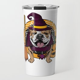 Witch Bulldog Dog Costume For Spooky Halloween Travel Mug