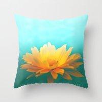 sunflower Throw Pillows featuring SUNFLOWER  by Monika Strigel