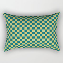 Dark Yellow and Tropical Dark Teal Inspired by Sherwin Williams 2020 Trending Color Oceanside SW6496 Small Checker Board Pattern Rectangular Pillow