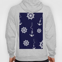 Nautical Navy Pattern with Anchors and Steering Wheels Hoody