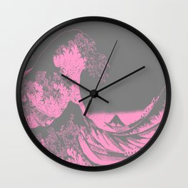 The Great Wave Pink & Gray Wall Clock