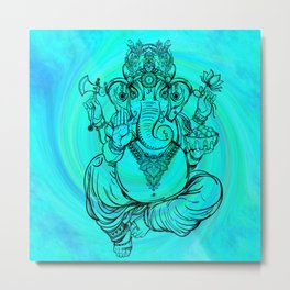 Lord Ganesha on Aqua Spiral Metal Print
