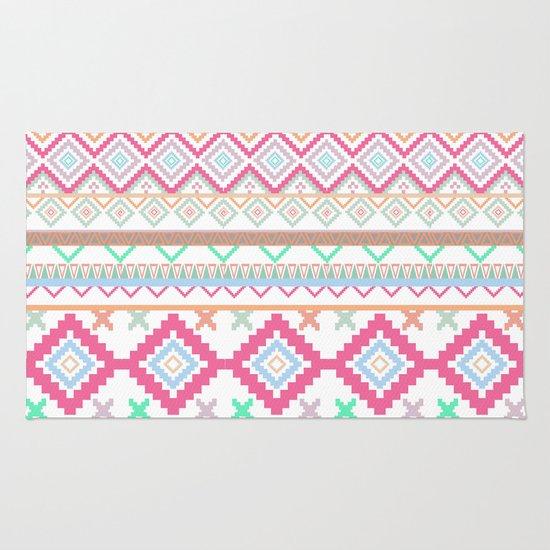 Pink Teal Aztec Tribal Diamond Geometric Pattern Rug By