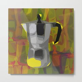 Moka Espresso pot pop art print Metal Print