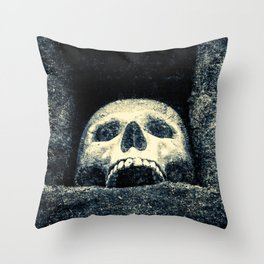 Old Human Skull In A Pagan Temple Throw Pillow