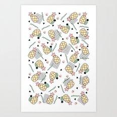 Tropical Pineapple Fruit Memphis Summer Design Art Print