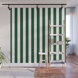Large Forest Green and White Rustic Vertical Beach Stripes Wall Mural