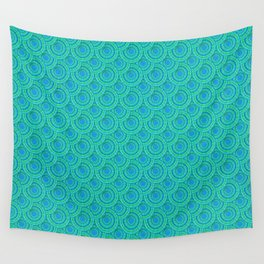 Teal Parasols Pattern Wall Tapestry