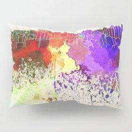 Edinburgh skyline in watercolor background Pillow Sham