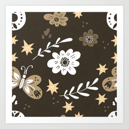 Dark Brown Pattern with White Flowers and light brown butterflies Art Print