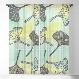 Ginkgo Biloba block print Sheer Curtain