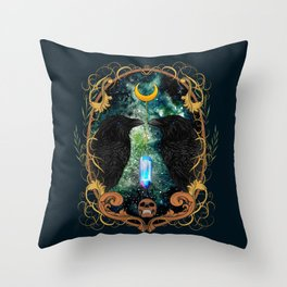 Raven Moon Oracle With Crystal Pendulum Throw Pillow