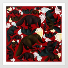 Marten tropical pattern Red Art Print