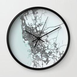 Jeddah, Saudi Arabia, White, City, Map Wall Clock