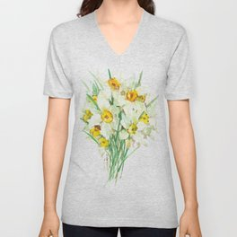 Daffodil Flowers, White spring flowers, Green yellow spring colored design Unisex V-Neck