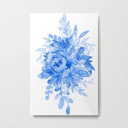 Juicy Watercolor Chintz in Cornflower Blue on White  Metal Print