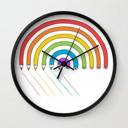 Pencil Rainbow Wall Clock