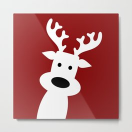Reindeer on red background Metal Print