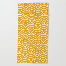 Japanese Seigaiha Wave – Marigold Palette Beach Towel