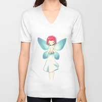 tooth V-neck T-shirts featuring Tooth Fairy by Freeminds