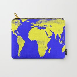 World Map Blue & Yellow Carry-All Pouch