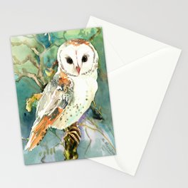 Barn Owl, woodland design owl Stationery Cards