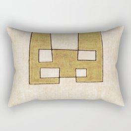 Protoglifo 06 'Mustard traverse cream' Rectangular Pillow