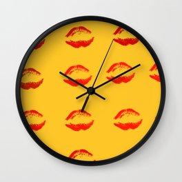 Lips On Fire Wall Clock