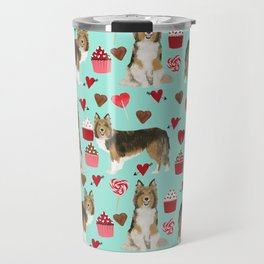 Sheltie shetland sheepdog valentines day love hearts cupcakes dog gifts puppies pet friendly art Travel Mug