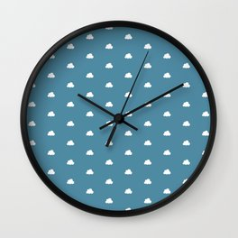 Wedgewood blue background with small white clouds pattern Wall Clock