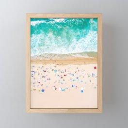 Drone shot of Manhattan beach Framed Mini Art Print