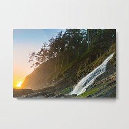 Blumenthal Falls Ocean Sunset at Short Sands Beach, Oregon Metal Print