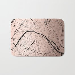 Paris France Minimal Street Map - Rose Gold Glitter on Black Bath Mat