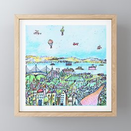 magic  cartoon city with river Framed Mini Art Print